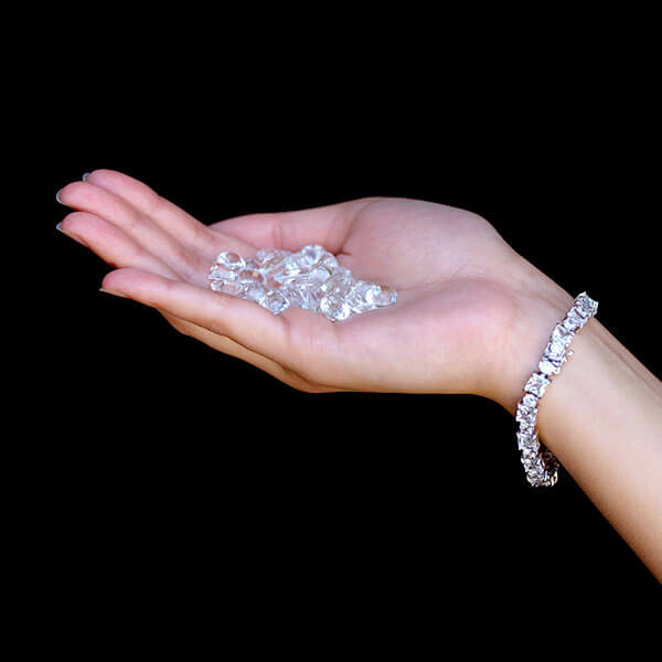 Woman Holding Diamonds